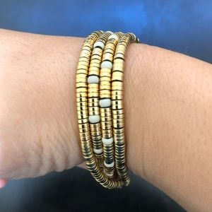 J.Crew Multi Strand Gold Beaded Bracelet